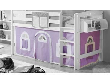 Ticaa Vorhang-Set, Landhausoptik, lila, lila-weiß