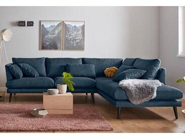 andas Ecksofa »Gondola«, scandinavisches Design und edle Ausstrahlung, mit Holzbeinen, blau, 273 cm, Ottomane rechts, blau
