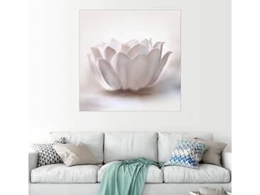 Posterlounge Wandbild - Christine Ganz »White Lotus«, weiß, Holzbild, 120 x 120 cm, weiß