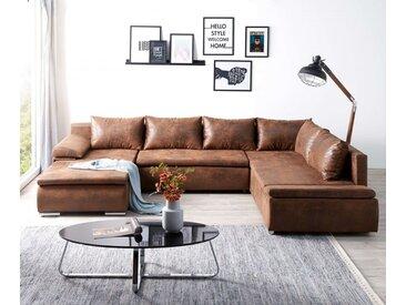 DELIFE Couch Abilene Braun 330x230 cm Ottomane variabel, braun, Braun