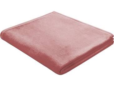 BIEDERLACK Wohndecke »Squares«, im Uni Design, rosa, Baumwolle, rosa
