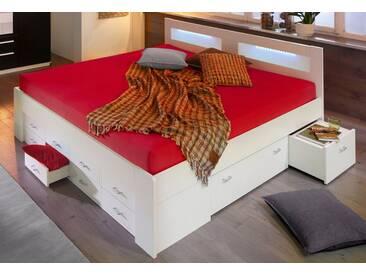 Breckle Bett, weiß, Federkernmatratze, weiß