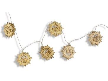 Lichterkette, mit Holz-Ornamenten, Länge ca. 160 cm, Batteriebetrieb
