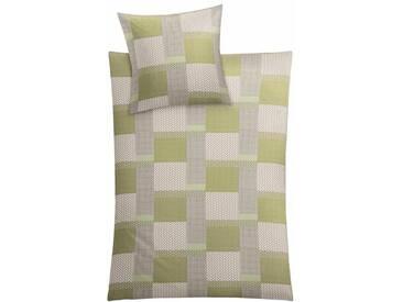 Kleine Wolke Bettwäsche »Bibo«, mit verspielte Karo-Variante, grün, 1x 135x200 cm, Feinbiber, gelb-grün