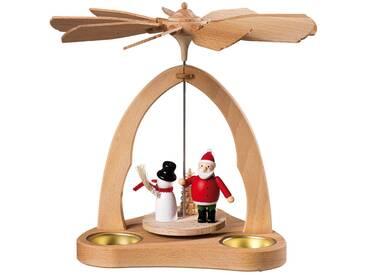 SAICO Original Tischpyramide Weihnachtsmann und Schneemann für 3 Teelichte