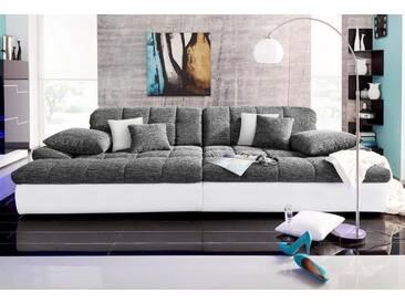 Nova Via Big-Sofa, grau, 318 cm, weiß/anthrazit