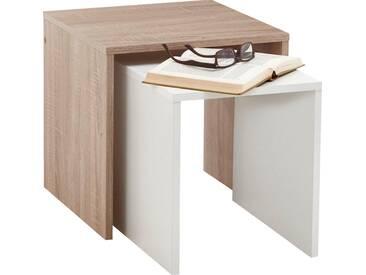 FMD Furniture Beistelltisch-Set »Bornholm«, weiß, eichefarben/weiß
