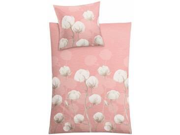 Kleine Wolke Bettwäsche »Cotton«, mit Blumen, rosa, 1x 155x220 cm, Mako-Satin, rosa