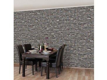 Bilderwelten Vliestapete Steinoptik Breit »Alte Steinmauer«, grau, 225x336 cm, Grau