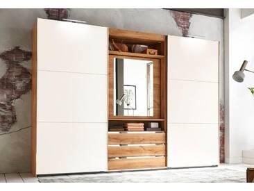 Fresh To Go Schwebetürenschrank »Magic«, mit drehbarer Spiegeltür, Breite 300 cm, Höhe 216 cm, plankeneichefarben/weiß