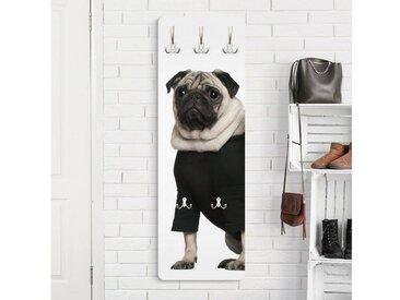 Bilderwelten Kindergarderobe 139x46x2cm »Mops Fashion«, grau, 139x46 cm, Grau