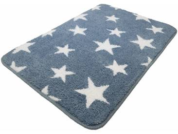 MEUSCH Badematte »Stars« , Höhe 15 mm, rutschhemmend beschichtet, fußbodenheizungsgeeignet, blau, 15 mm, stahlblau