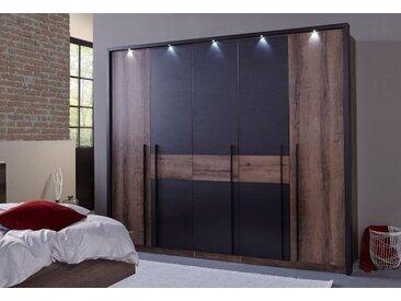 FORTE Kleiderschrank »Bellevue« mit LED-Beleuchtung, schwarz, Breite 261 cm, 5-türig, schlammeichefarben/schwarzeichefarben
