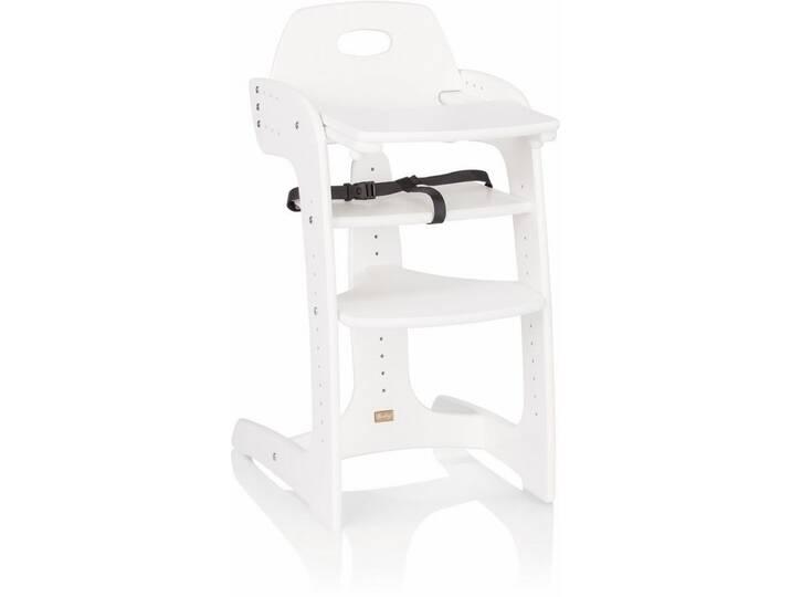 Herlag ® Hochstuhl aus Holz, mit verstellbarer Rückenlehne, »Tipp Topp Comfort IV, Buche massiv weiß«, weiß, weiß Weiß