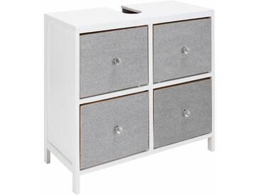 heine home Waschbeckenunterschrank mit glitzernder Front und diamantförmigen Griffen, weiß, ca. 60,5/65/30 cm, Waschbeckenunterschrank, 4 Schubläden
