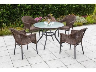 MERXX Gartenmöbelset »Ravenna«, 5tlg., 4 Sessel, Tisch, stapelbar, Polyrattan, braun, braun, braun
