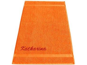 Lashuma Badetuch »Linz«, XXL Saunatuch 100x150 cm, Besticktes Handtuch mit Name, orange, orange