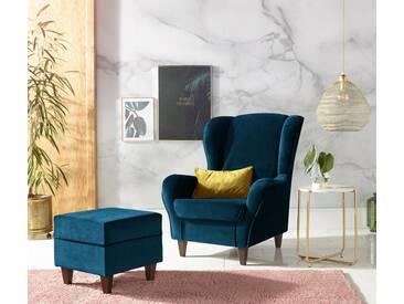 INOSIGN Sessel mit Bezug in Samtoptik, mit und ohne Hocker, blau, mit Hocker, dunkelblau