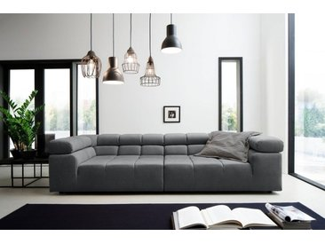 INOSIGN Big-Sofa »Ancona«, mit auffälliger Steppung, Kopfteilverstellung, grau, 290 cm, Recamiere links, grau