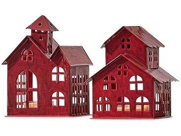 Loberon Windlicht 2er Set »Village«, rot, rot