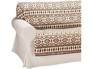 2er-Sofaüberwurf aus reiner Schafschurwolle, braun, 2-Sitzer, natur-braun