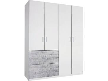 rauch SELECT Kleiderschrank, weiß, Breite 181 cm, 4-türig, mit Aufbauservice, mit Aufbauservice, weiß mit grauem Vintage-Dekor