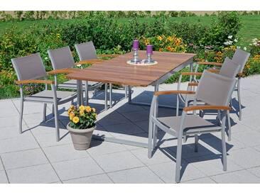 MERXX Gartenmöbelset »Naxos«, 7-tlg., 6 Sessel, Tisch 90x200 cm, Textil/Akazie, braun, braun, braun