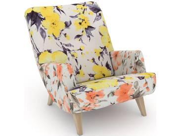 Max Winzer® build-a-chair Loungesessel »Borano« im Retrolook, zum Selbstgestalten, gelb, Korpus: Microvelours Blüte lachs, Microvelours Blüte gelb