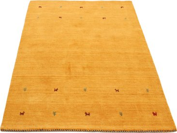 carpetfine Wollteppich »Gabbeh Uni«, rechteckig, Höhe 15 mm, handgewebt, gelb, gelb