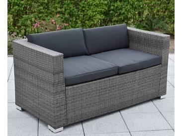 MERXX Loungesofa »2er Sofa Bari Deluxe«, Stahl/Kunststoffgeflecht, inkl. Kissen, grau, 145 cm, grau
