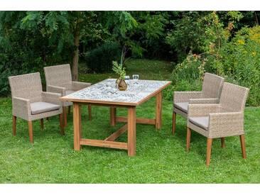 MERXX Gartenmöbelset »Ranzano«, 9-tlg., 4 Sessel, Tisch 172x105 cm, inkl. Sitzkissen, natur, naturfarben