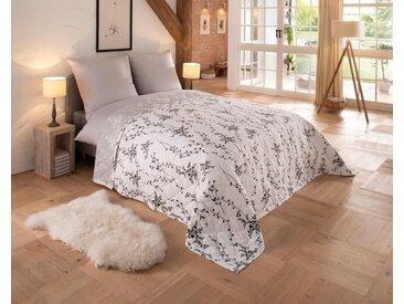Home affaire Tagesdecke »Oana«, mit feinen Zweigmotiven, weiß, Baumwolle, weiß-grau