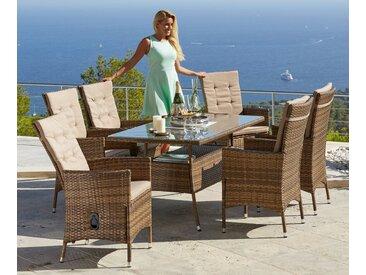 KONIFERA Gartenmöbelset »Santiago Deluxe«, 13-tlg., 6 Sessel, Tisch 80x150 cm, Polyrattan, braun, hellbraun