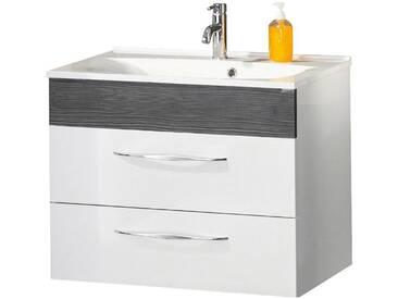FACKELMANN Waschtischunterbau »Sceno«, Breite 79,5 cm, weiß, piniefarben anthrazit/weiß