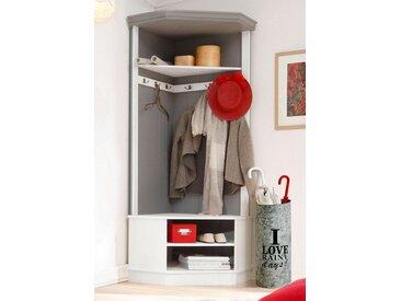 Home affaire Garderobenschrank »Malibu« aus massivem Kiefernholz, mit 6 Haken für viele Stauraummöglichkeiten, weiß, 90x180x65 (BxHxT) cm