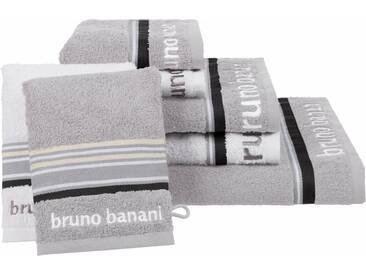 Bruno Banani Handtuch Set, »Maja«, mit farbiger Bordüre, grau, 7tlg.-Set (siehe Artikeltext), grau-weiß
