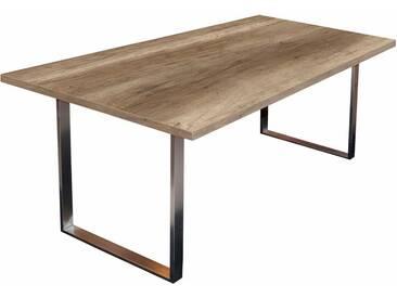 Mäusbacher Tisch, natur, ohne Aufbauservice, B/T/H: 200/100/76 cm, wildeichefarben dunkel