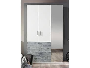 rauch SELECT Kleiderschrank mit Spiegel, weiß, Breite 136 cm, 3-türig, mit Aufbauservice, mit Aufbauservice, weiß mit grauem Vintage-Dekor
