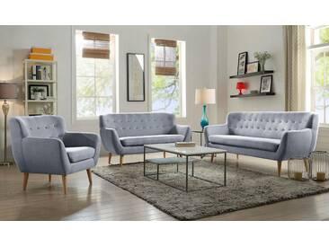 Home affaire 3-Sitzer »Noris«, mit Zierknopfheftung im Rücken, skandinavischer Stil, Holzfüße, grau, 183 cm, hellgrau