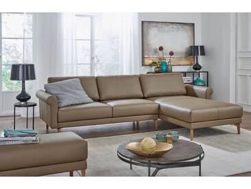 Hülsta Sofa hülsta sofa Polsterecke »hs.450« im modernen Landhausstil, Breite 282 cm, grau, Recamiere rechts, beigegrau