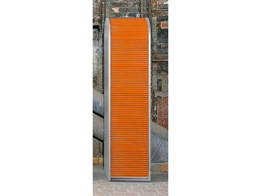 MS-Schuon Rolladenschrank Hochschrank mit 4 Fachböden, abschließbar »KLENK COLLECTION«, weiß, weiss / orange