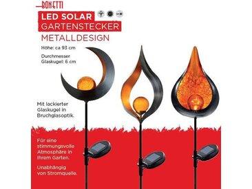 LED Gartenleuchte »Solar Gartenstecker«, 1-flammig, 3er-Set in Bruchglas-Optik