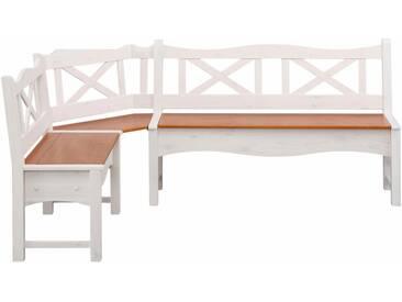 Home affaire Eckbank »Vanda«, mit zwei Truhen und einer großen Banksitzfläche aus Massivholz, weiß, groß 241/151, weiß