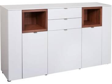 VENJAKOB Sideboard »Andiamo«, mit kontrastfarbenen Absetzungen, Breite 180 cm, braun, Mit Glastür, Nussbaum