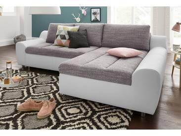 sit&more Ecksofa »Aurano«, weiß, 259 cm, Recamiere rechts, weiß/grau