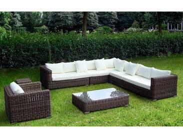 Baidani BAIDANI Loungeset »Heritage«, 1 XXL Sofa, 1 Sessel, Beistelltisch, Tisch, Polyrattan, braun, graubraun