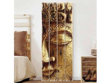 Bilderwelten Wandgarderobe Holz Hochformat »Top 8 Garderoben in Palettenoptik«, bunt, Motiv: Vintage Buddha, Haken schwarz, Farbig