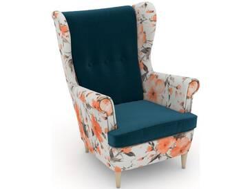 Max Winzer® build-a-chair Ohrensessel »Casimir« im Winchester-Look, zum Selbstgestalten, grün, Korpus: Microvelours Blüte lachs, Samtvelours petrol