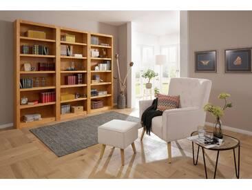 Home affaire Sessel mit Hocker »Michigan«, mit und ohne Relaxfunktion, natur, ohne Relaxfunktion im Rücken, creme