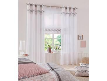 Home affaire Raffrollo »Cremona«, mit Schlaufen, rosa, Schlaufen, transparent, rosé-grau